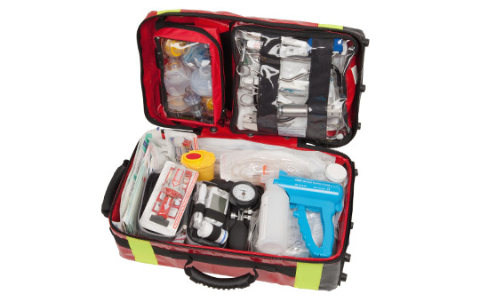 Equipment according to DIN 13232, parts A + C, in emergency backpack RESCUE-PACK I